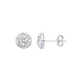 Jewelco London Ladies Rhodium Plaqué Sterling Silver White rond Crystal Disco Dome Stud Boucles d'oreilles