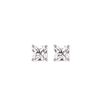 Jewelco London Rhodium Plated Sterling Silver Princess Cut Cubic Zirconia 4 Claw Solitaire Stud Earrings 8mm