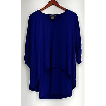 Kate & Mallory Top Soft Knit V-Neck Dolman Sleeved Built In Tank Blue A421663