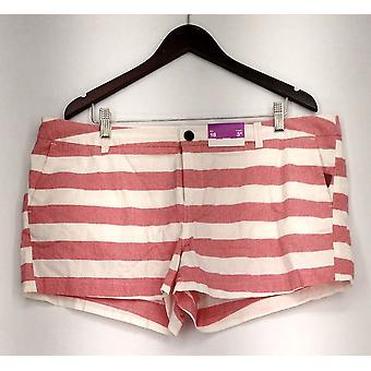 Merona Plus Pantaloncini chiusura zipper stampa bianco e rosso nuovo