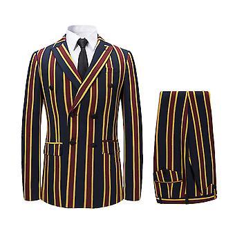 Allthemen Men's 3-Piece Suits Vertical Stripe Casual Blazer&Vest&Pants