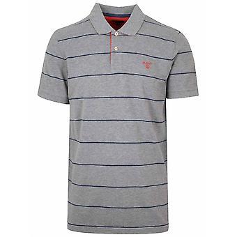 GANT Grey & Navy Striped Polo Shirt