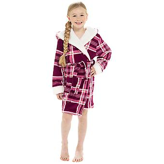 Girls Hooded Check Print Design Soft Fleece Dressing Gown