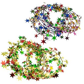 2.7m Foil Tinsel Star Wired Christmas Garland | Christmas Tree Decoration
