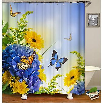 Blue And Yellow Flowers ft. Butterflies Shower Curtain