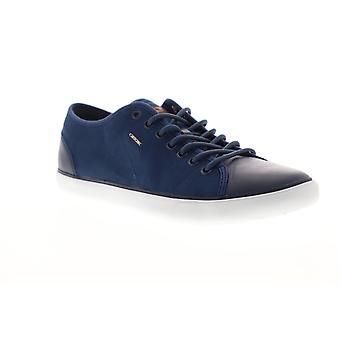 Geox U Smart Mens Blue Canvas Lace Up Low Top Sneakers Chaussures