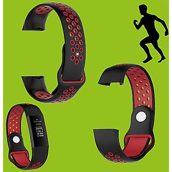 For Fitbit Charge 3 Plastic / Silicone Bracelet for Men / Size L Black-Red Watch