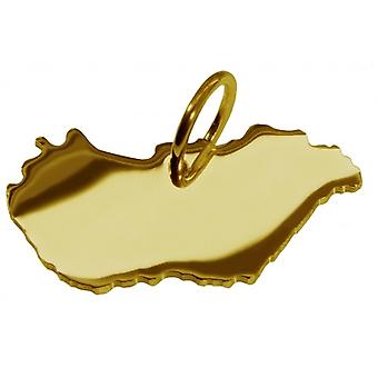 Hänge karta kedja hänge i guldgult-guld i form av Ungern