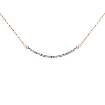 Igi certified natural 10k rose gold 0.25ct round cut solid diamond bar necklace