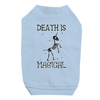 Death is Megical Unicorn Skeleton Halloween Sky Blue Pet Shirt for Small Dogs