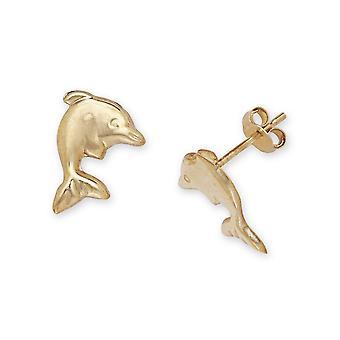 14k Sárga Arany Delfin Bélyegzés fiúknak vagy lányoknak Fülbevaló intézkedések 11x8mm