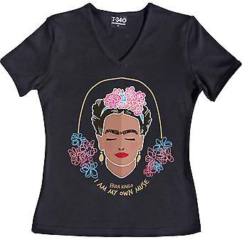 Frida Kahlo -Quot;I Am My Own Muse-quot; V-Neck Black Women-apos;s T-Shirt