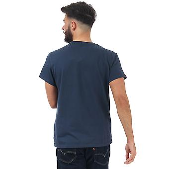 Mens Levis Relaxed Lazy Graphic T-Shirt In Blue- Short Sleeve- Ribbed Collar-