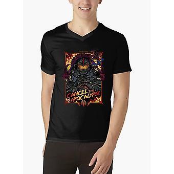 Annullare l'Apocalisse metà maniche t-shirt con scollo a v