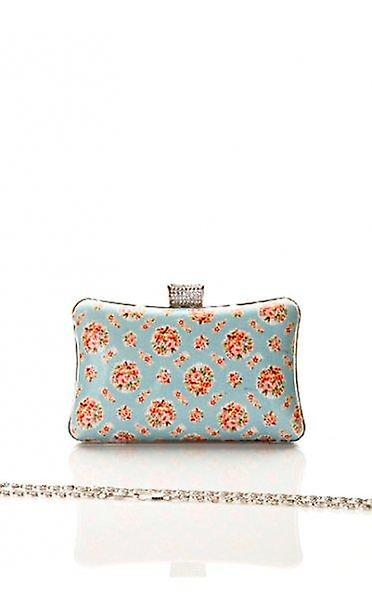 Small Roses Vintage Print Box Clutch In