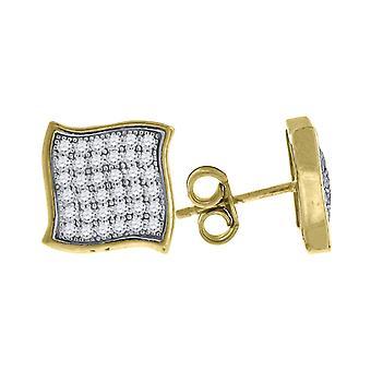 10kイエローゴールドメンズCZキュービックジルコニアシミュレートダイヤモンドキュービックジルコニアスクエアスタッドイヤリングは9.7x9.70mm幅Jeを測定します