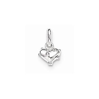 925 Sterling Silver for boys or girls Polished Love Heart Pendant Necklace - .9 Grams