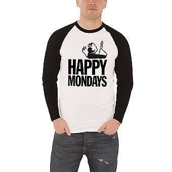 Happy Mondays T shirt Mens band Logo new white Official Baseball Shirt