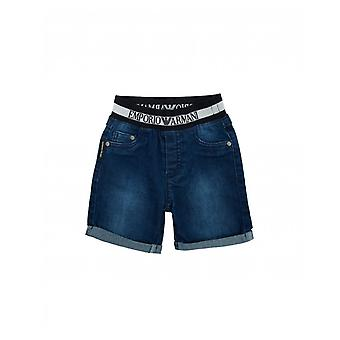 Armani Junior Logo Waistband Denim Shorts