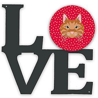 Kurilian Bobtail Cat Love Metal Wall Artwork LOVE