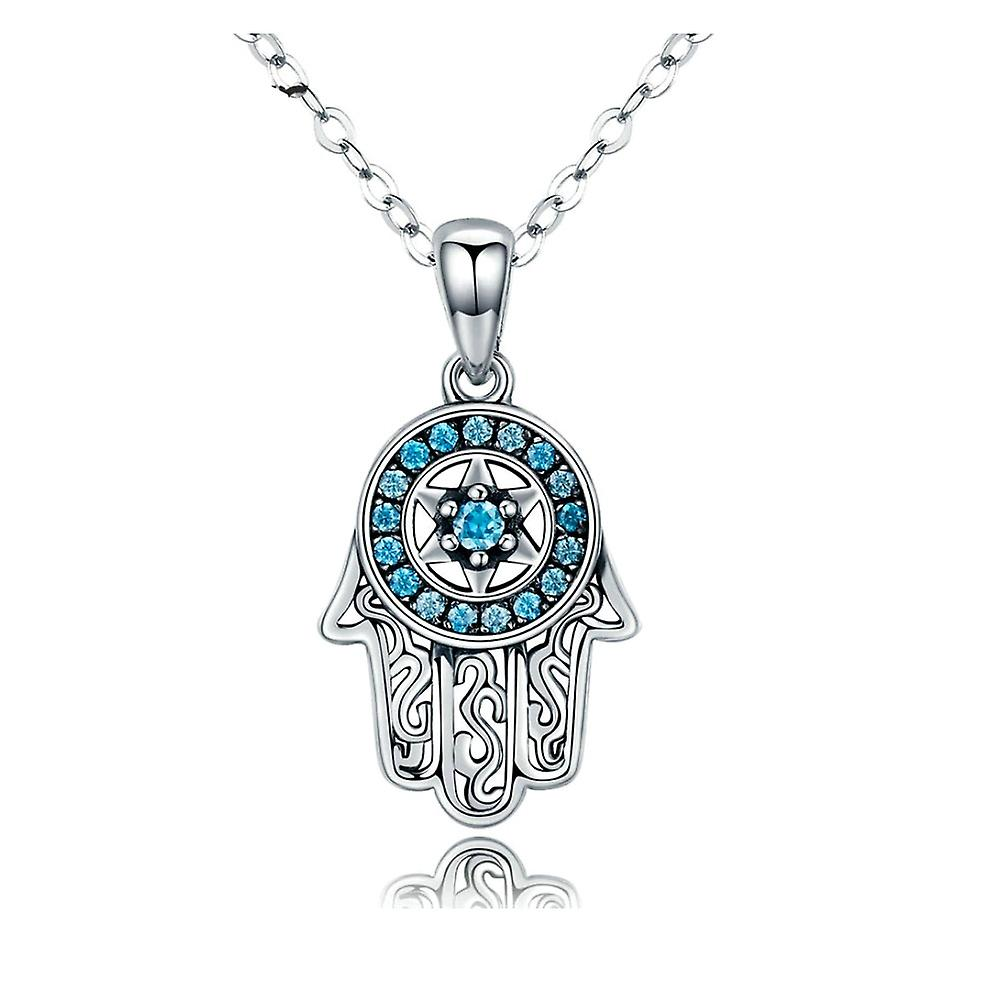 Fatma Hand pendant adorned with blue and silver Swarovski Crystal 925 8089