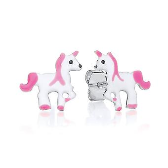 David Deyong Children's Sterling Silver Pink Unicorn Stud Earrings
