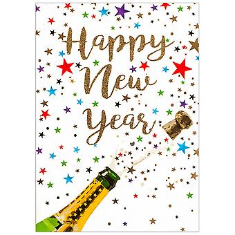 Simon Elvin Champagne and Stars New Year Wishes Cards (Pack of 6)
