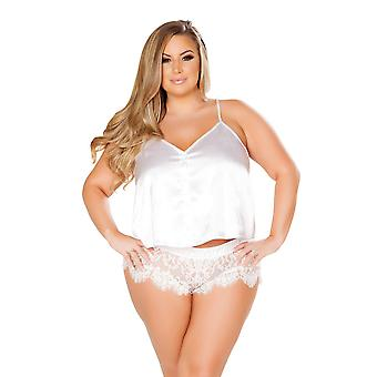 Elegant Plus Size Satin and Eyelash Lace Top and Boyshort Pajama Sleepwear Set