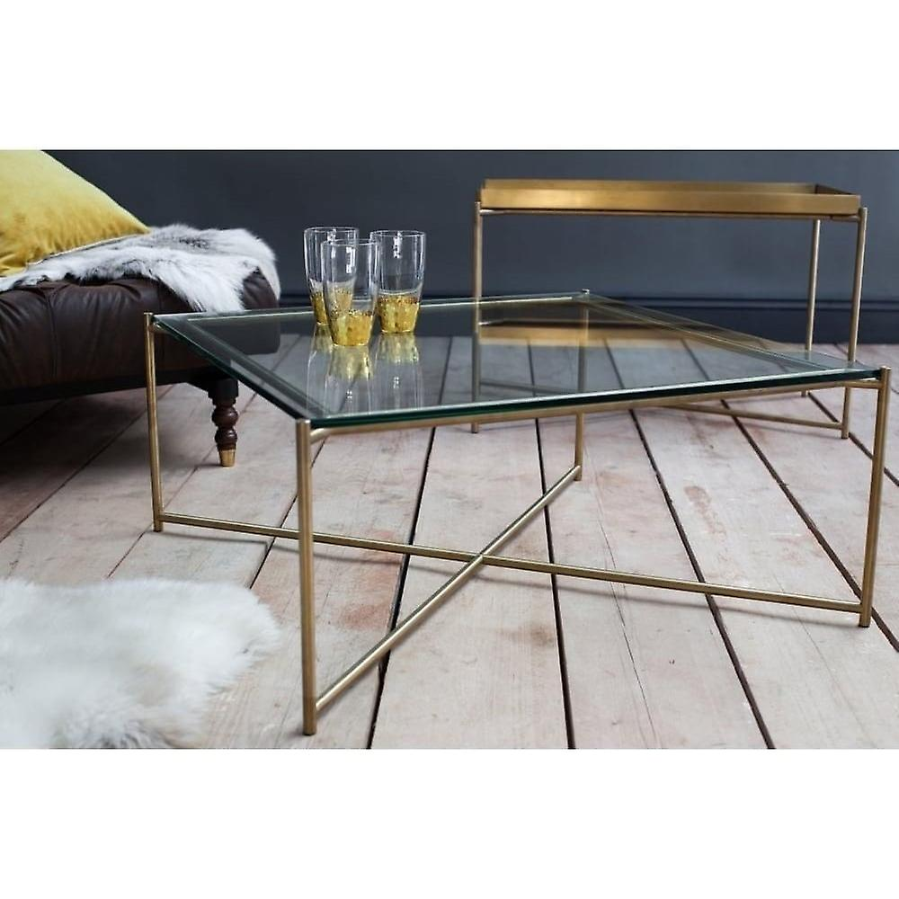 Gillmore Clear Glass Square Coffee Table With Brass Cross Base