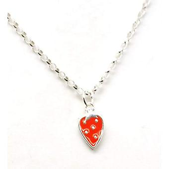 Scribble Sterling Silver Kids Strawberry Pendant on 14 Inch Chain