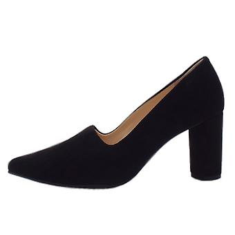 Högl 8-10 7542 Cushy Stylish Pointed Toe Court Shoes In Black Suede