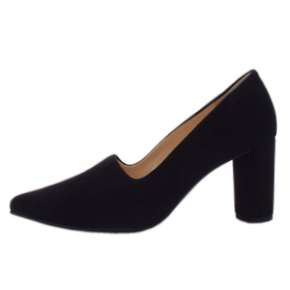 Högl 8-10 7542 Cushy Stylish Pointed Toe Court Shoes In Black Suede EeERN