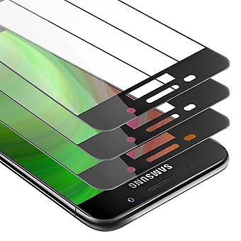 Cadorabo 3x Full Screen Tank Foil for Samsung Galaxy A7 2016 - Protective Film in TRANSPARENT with BLACK - 3 Pack Tempered Display Protective Glass in 9H Hardness with 3D Touch