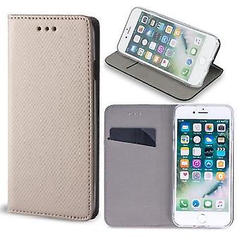 Samsung Galaxy A80 - älykäs magneettikotelo mobiililompakko - kulta