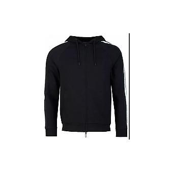 Emporio Armani Cotton Zip Up Black Hoodie