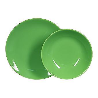 Piatti Green Colore Verde in Stoneware, Ogni Piatto Fondo L21xP21 cm, Ogni Piatto Piano L26xP26 cm
