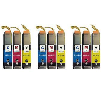 3 C/M/Y színes XL készlet kompatibilis Brother LC223 nyomtató tintapatronok