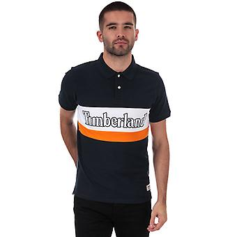 Men's Timberland Block Logo Polo Shirt in Blue