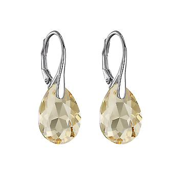 Sterling silver golden shadow drop earrings created with swarovski® crystals