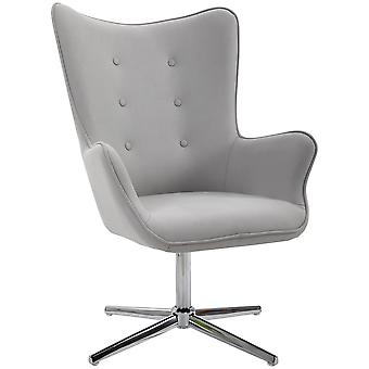 HOMCOM Retro PU Leather Swivel Accent Chair Executive Tufted w/ Metal Base Padding High Back Arms Home Office Comfort Style Seating 74L x 71W x 106H - Grey