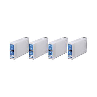 RudyTwos 4 x produit compatible pour Epson 79XL(TowerofPisa) encre unité Cyan Compatible avec WorkForce Pro WF-4630DWF, 4640DTWF-WF, WF-5110DW, 5190DW-WF, WF-5620DWF, WF-5690DWF