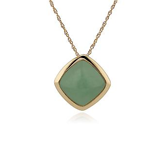 Classic Cushion Green Jade Bezel Set Pendant Necklace in 9ct Yellow Gold 135P1714019