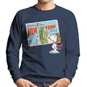 Peanuts Snoopy New York Postcard Design Men's Sweatshirt