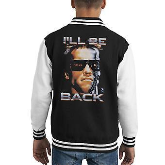 Terminator Arnie närbild glasögon ill be back Kid ' s Varsity jacka