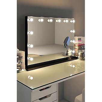 Diamond X Gloss Svart Kant Hollywood Makeup Speil K314M