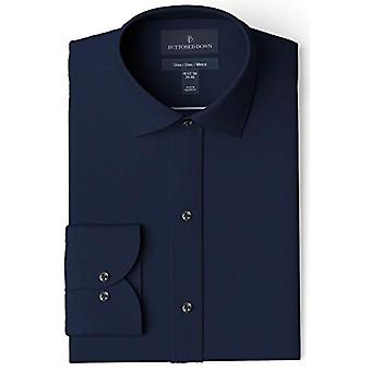 BUTTONED DOWN Men's Slim Fit Spread Collar Solid Pocket Options, Navy 16.5