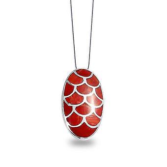 ADEN 925 Sterling Silver Coral Oval Form Hänge Halsband (id 942)