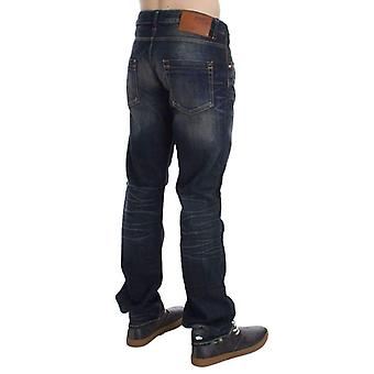 Blue Wash Straight Fit Low Waist Jeans -- SIG3499717