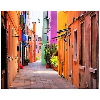 Print on canvas - Vivacity A Burano, L&Apos;Colored Island - Painting on Canvas, Wall Decoration