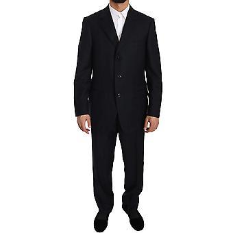 Ermenegildo Zegna Black Stripe Two Piece 3 Button Wool Suit KOS1358-52